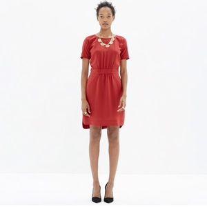 Madewell Red Silk Cinch-Waist Dress NWT